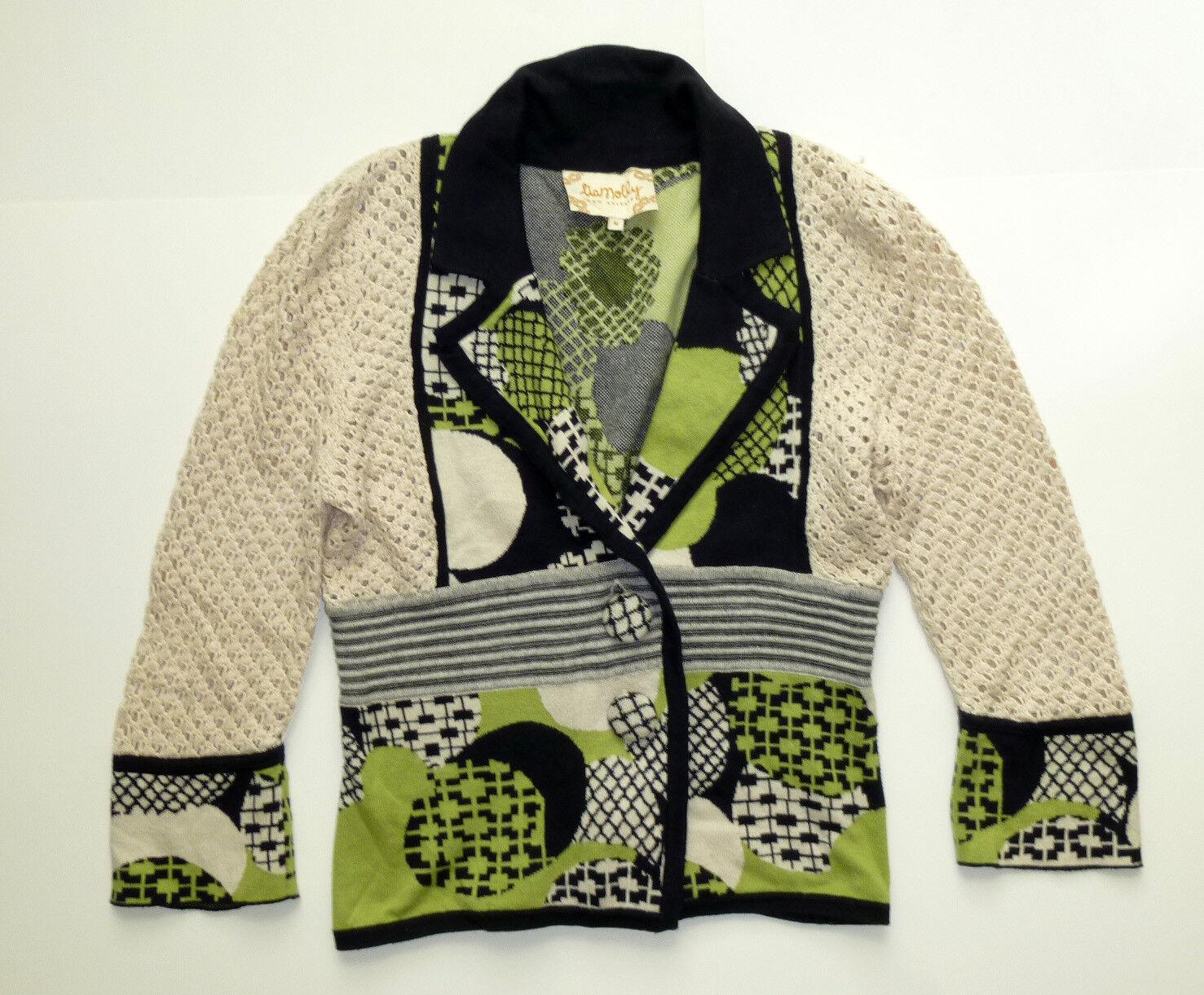 Anthropologie EUC Organic Chemistry Sweater by LiaMolly - Green Intarsia - SZ M