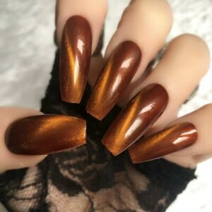 Hand-Painted-Gel-Coffin-Extra-Long-False-Nails-Copper-Gold