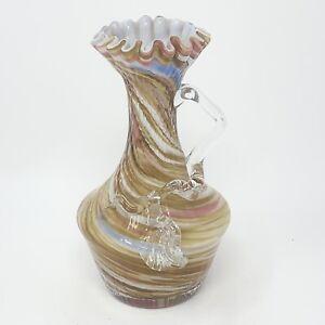 Antique Hand Blown Spatter Swirl Art Glass Vase Pitcher EOD Applied Glass Handle