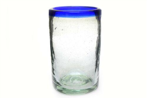 "Cobalt Blue Trim Mexican Tall Drinking Glass 5/"" Bubbles"