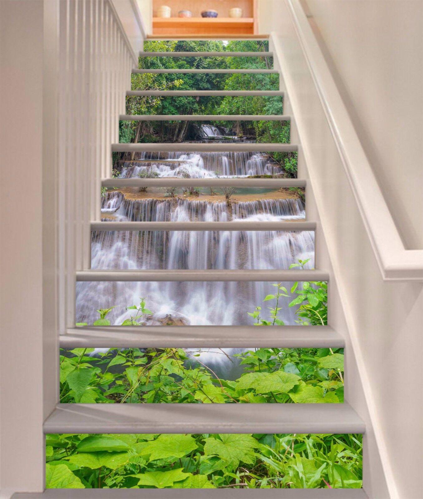 3D Grüne Blätter 76 Stair Risers Dekoration Fototapete Vinyl Aufkleber Tapete DE
