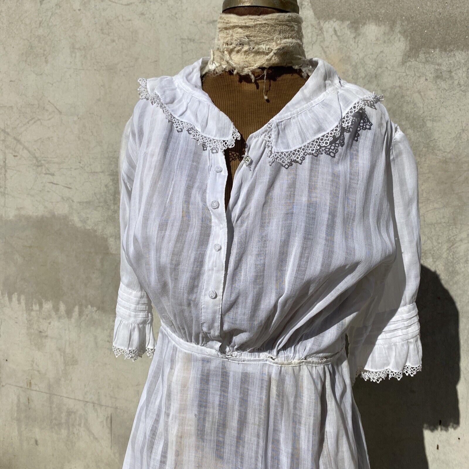 Antique Edwardian White Cotton Tea Dress Maxi Lac… - image 2