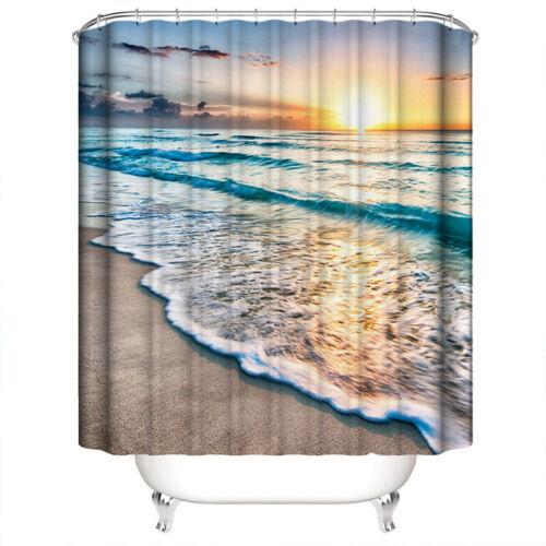 4PC Bathroom Shower Curtain Non-slip Bath Mat Pedestal Toilet Seat Cover Lid Rug