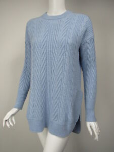 cb04534a07115c J CREW Baby Blue Wool Blend Chunky Cable Knit Asymmetric Tunic ...