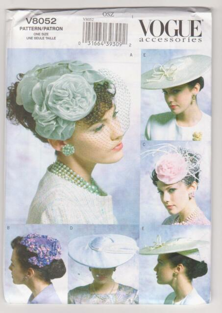 Vogue Sewing Pattern V8052 Vintage Hats - 5 Hat Styles from 1950 some with  veils e8ec489f156