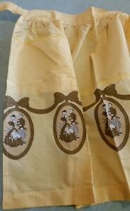 Vintage 1960s Half Apron Yellow Gingham Brown Printed Bows Portraits Bright!