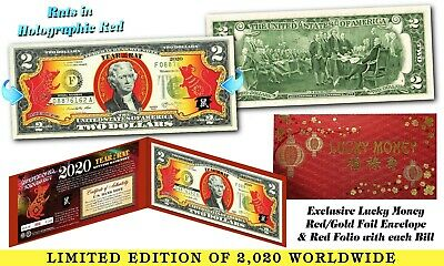 2020 Chinese Lunar New Year of Rat $2 Bill LUCKY #8 GOLD HOLOGRAM 8/'s Red Folio
