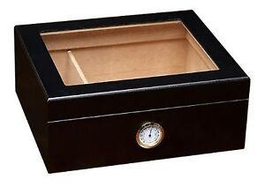 Cigar Box Humidifier Hygrometer Glass Top Cedar Wood Travel Case Humidor