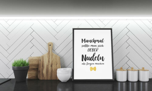 Bild Fine Art Kunstdruck Poster Druck Deko DinA4 Geschenkidee Nudeln kochen