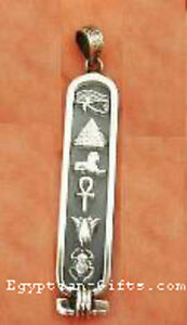 Oxidized finish silver cartouche pendant egyptian necklace ebay image is loading oxidized finish silver cartouche pendant egyptian necklace aloadofball Image collections
