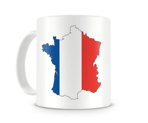 Frankreich Nationalfarben Tasse Kaffeetasse Teetasse  2 Farben H:95mm D:82mm