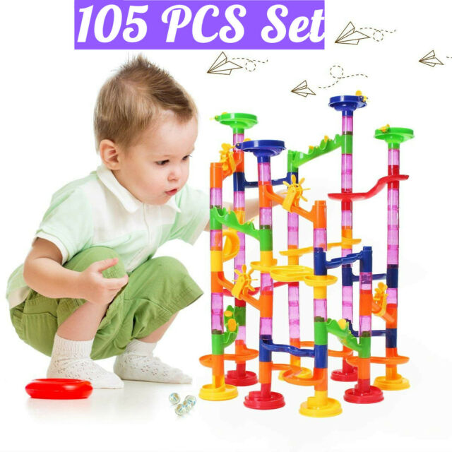105PCS Kids Marble Run Race Set DIY Railway Building Blocks Track Construction