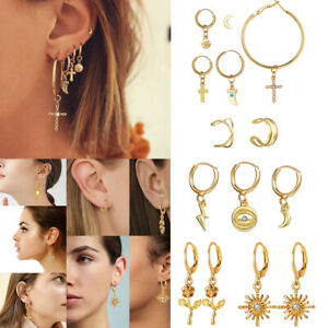 Eye-Set-mit-MischEar-Stud-Set-Ohrringe-Geometrischer-Drop-Dangle-Clip-Cuff