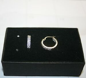 Diamond-Alternatives-Double-Sm-Hoop-Huggie-Earrings-White-14k-Gold-over-925-SS