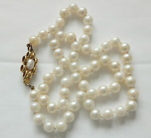 4e36f4b4667a La imagen se está cargando Antiguo-Collar-De-Perlas-Cultivadas-recargado- broche-de-