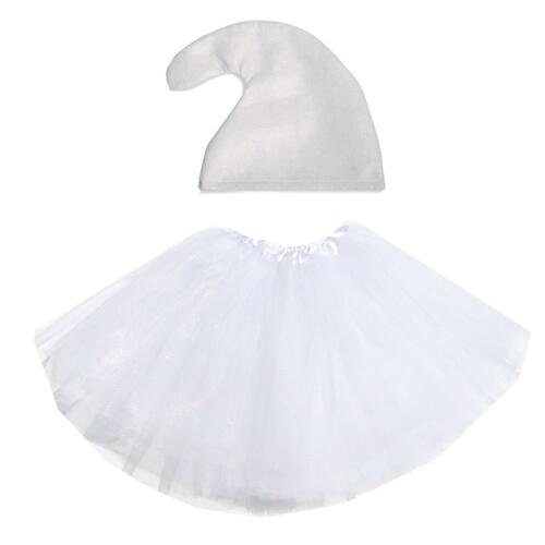Tutu e Cappello Gnomo Costume Set 7 NANI Gallina Fare Festa Cartoon Fairytale