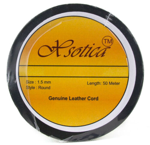 Xsotica® Brown Distressed Red Round Leather Cord 1.5mm 50 meters 54 yards