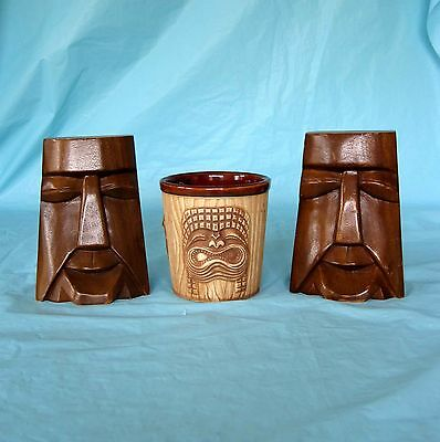 Carved Wood Wooden Tiki Bookends and Vintage Hawaiian Tiki Pen Pencil Cup Holder