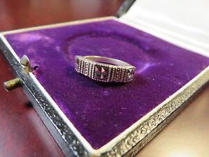 Chicer-925-Silber-Ring-Jugendstil-Art-Deco-Markasiten-Vintage-Modern-Klein-Top