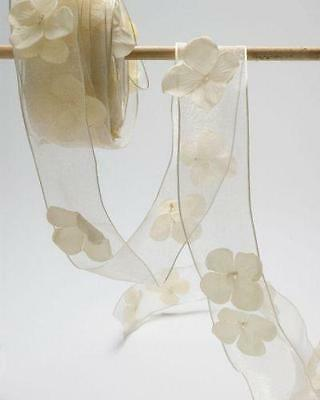 """May Arts SHEER FLOWER & PEARL RIBBON Wired Trim - 1.5"""" wide - 1m & more"""