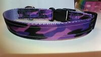 Handmade Purple Camouflage Dog Collar Adjustable Camo Lavender Made In The Usa