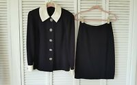 St .John Evening by Marie Gray size 6 black knit suit, removable collar, cuff,