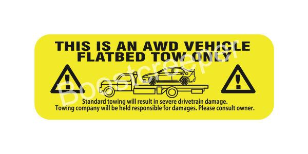 Mitsubishi EVO AWD Tow Warning Decal Sticker adhesive inside mount