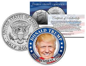 DONALD TRUMP FOR PRESIDENT 2016 Colorized JFK Half Dollar U.S. Coin CAMPAIGN