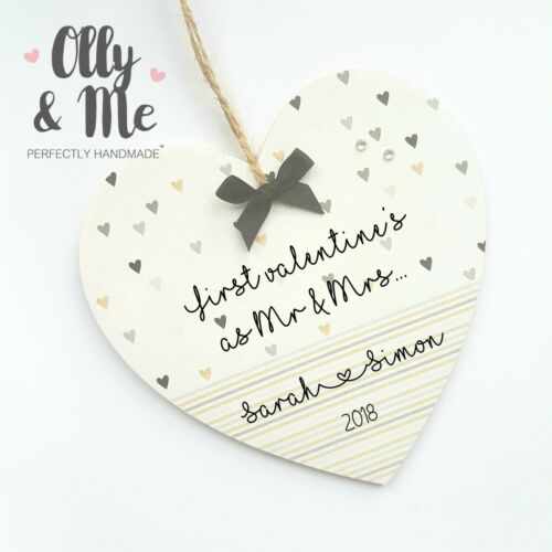 Personalised Wooden First Valentines Day Together Couple Gift Heart Plaque//Sign