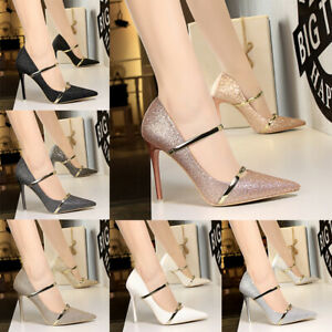 88b2830af3 Image is loading Shiny-Sequin-Matel-Shallow-Pointed-Toe-Stilettos-High-