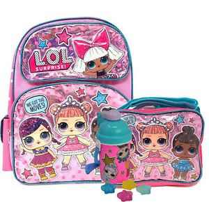 "Large School Backpack 16/"" Girls LOL Bag w// Lunch bag /&Water Bottle LOL Surprise"