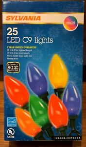 Details About Sylvania Christmas Lights 25 Led C9 Lights Multi Color Holiday 8 Inch Spacing