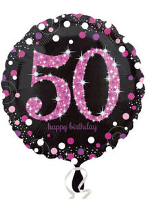Image Is Loading Pink And Black 50th Birthday Helium Balloon