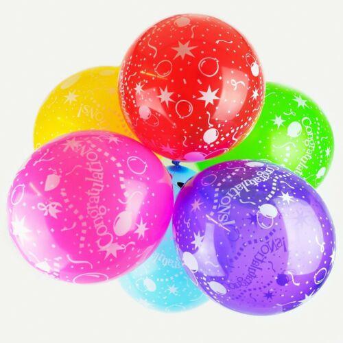 """Pack de 10-12/"""" Félicitations Assortiment Couleur-Latex Ballons Fête"""