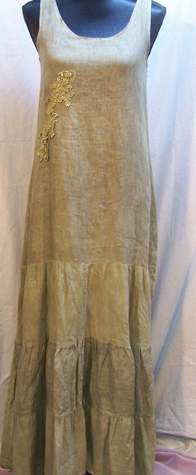 Steel Peony Women's NWT  XS Green Maxi Dress with Embroidery