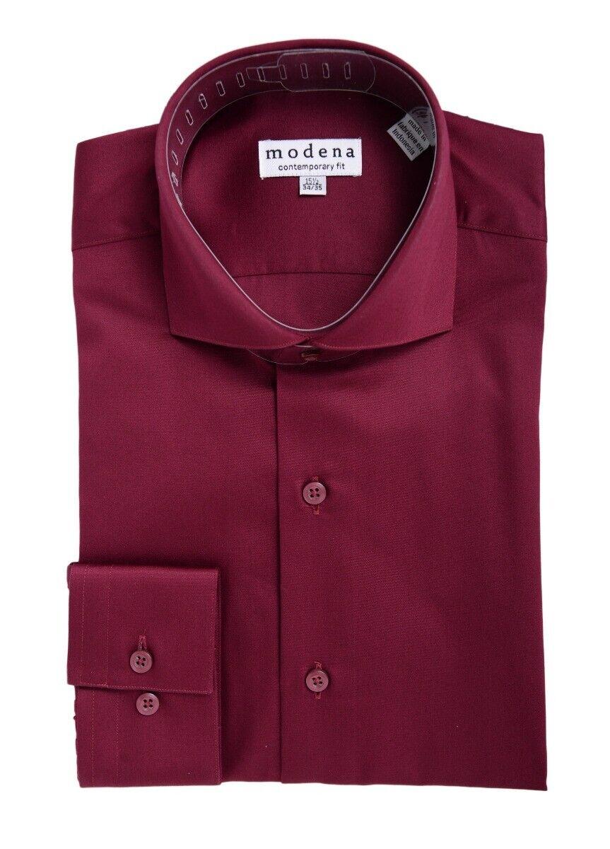 Herren Slim Fit Solid Weinrot Haifischkragen Baumwollmischung Kleid Hemd