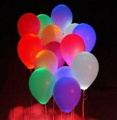 "10 PCS LED Light up 12"" Air Hellium Latex balloon Mixed Colors Wedding Party"