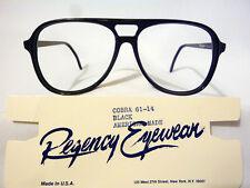 Regency By Tart Optical Vintage Dbl Bridge Eyeglass Frame Cobra Black 61-14 NOS