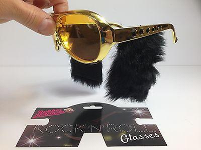 1950s 60s Elvis Rock N Roll Sunglasses 13cm Sideburns Fancy Dress Stag Vegas
