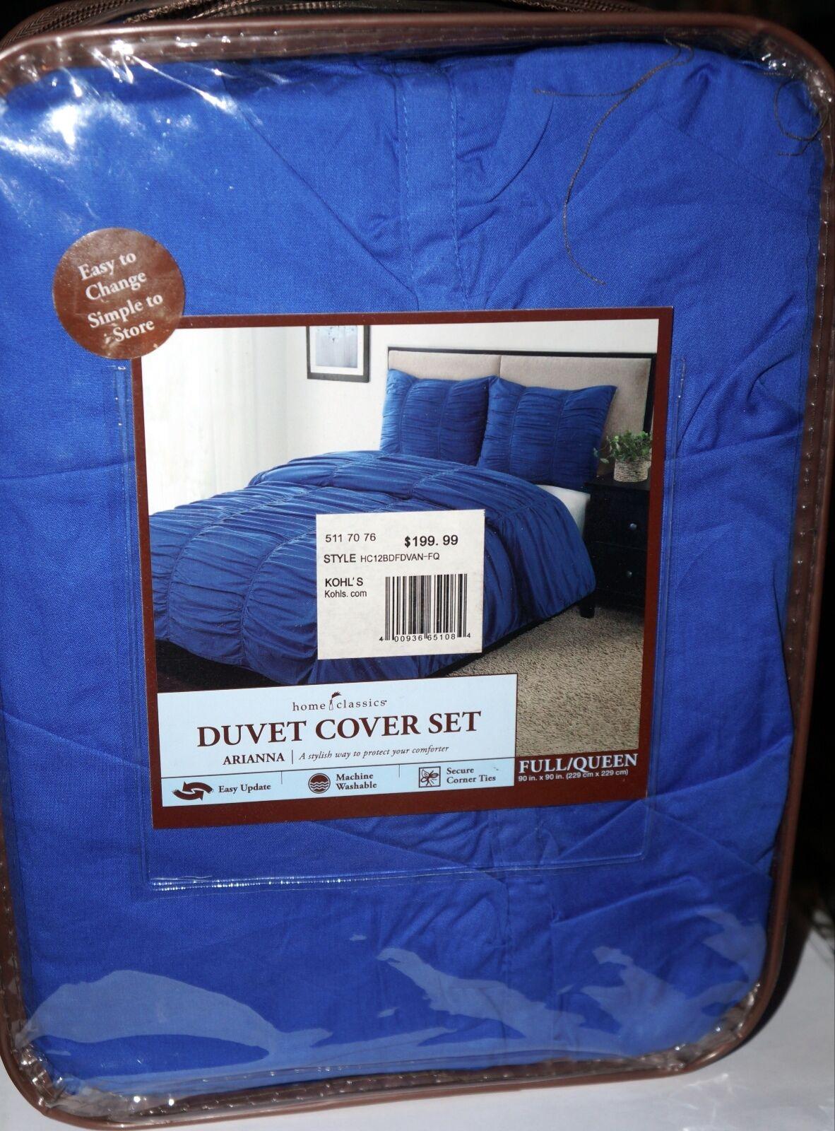HOME CLASSICS  Arianna  bluee 3-pc Duvet Cover Set-Full Queen 100% Cotton NIP