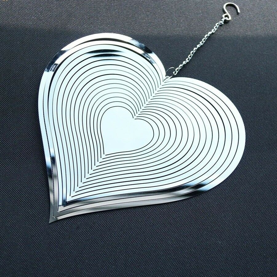 Beating Heart 360 Rotary Wind Spinner 3D Stainless Steel Indoor Outdoor ornament