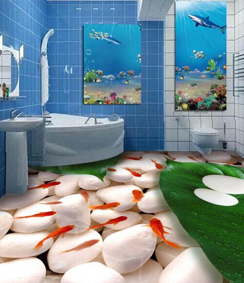 3D pietra pesce d'oro Pavimento Foto Wallpaper Murales Muro Stampa Decalcomania