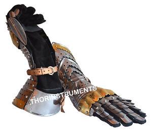 Medieval-Knight-Crusader-Steel-Gloves-Armor-Pair-Brass-Accents-Gauntlet-Gloves