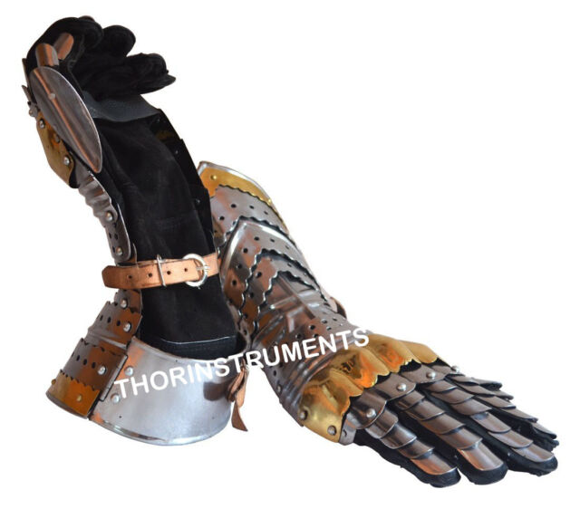 Medieval Knight Crusader Steel Gloves Armor Pair Brass Accents Gauntlet Gloves