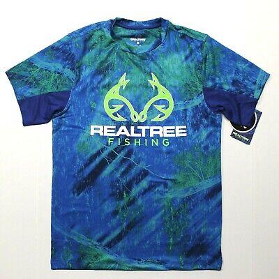 nwt realtree navy fishing short sleeve performance shirt mens XL free ship USA