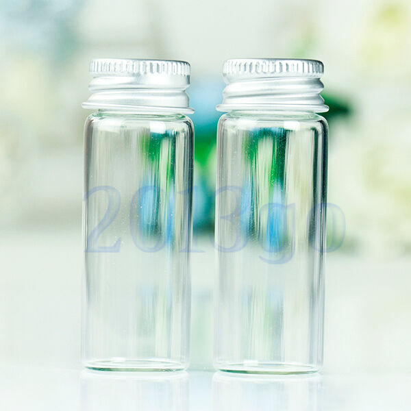 10Pcs Small Tiny Empty Clear Bottles Glass Vials 22x60mm With Screw Lid 14ml YG
