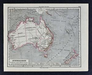 Map Of Australia 1880.1880 Sydow Map Australia New Zealand Sydney Melbourne Adelaide
