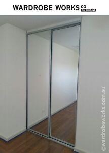 DIY Built in Wardrobe Mirror Glass Sliding Doors **Made to Measure ...