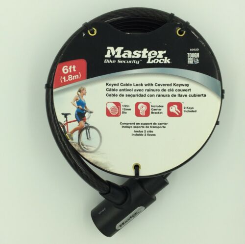 """Master Lock Bike Bicycle Security 6 Ft X 1//2/"""" in Feet Cable Keyed Lock 8362d"""