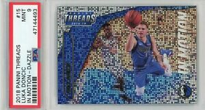 2018-Panini-Threads-In-Motion-Dazzle-Refractor-15-Luka-Doncic-Rookie-PSA-MINT-9